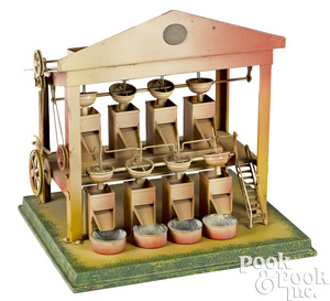 Plank painted tin sandmill steam toy accessory