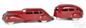Wyandotte streamline LaSalle with travel trailer