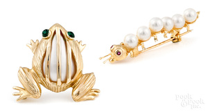 Two 14K yellow gold and pearl brooches
