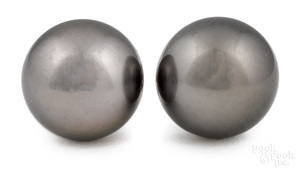 Pair of South Sea Tahitian pearl earrings