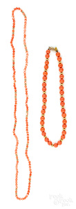 Two coral beaded necklaces