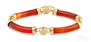 14K yellow gold orange jade link bracelet