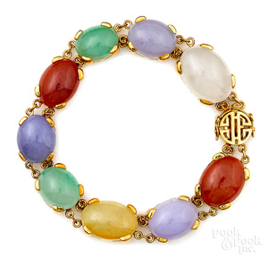 18K gold multicolored jade bracelet