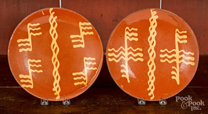 Two similar Pennsylvania redware plates