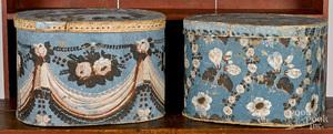 Two wallpaper hat boxes