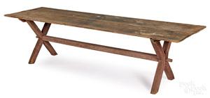 Rare large Pennsylvania painted pine trestle table