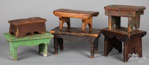 Six assorted footstools