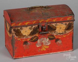 Red toleware dome lid box