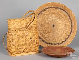Two Southwest basketry trays, etc.