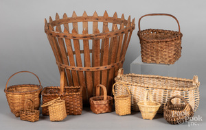 Collection of small woven baskets, etc.
