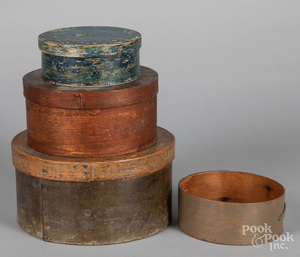 Four painted bentwood pantry boxes