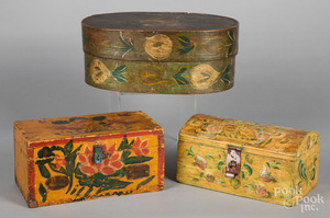 Three painted dresser boxes