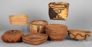 Seven Native American baskets