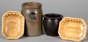 Two stoneware crocks, etc.
