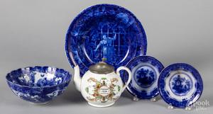 Four pieces of blue Staffordshire, etc.