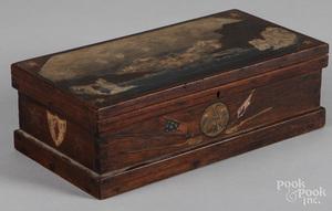 Sailors painted mahogany dresser box
