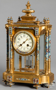 French cloisonné and brass mantel clock