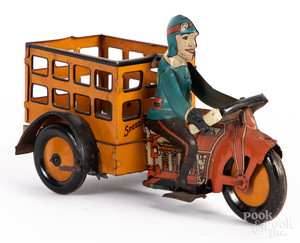 Marx tin lithograph wind-up motorcycle delivery