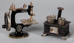 Child's Singer sewing machine, etc.