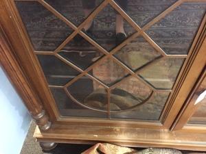 Queen Anne walnut veneer looking glass