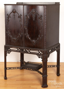 Chippendale style mahogany cabinet