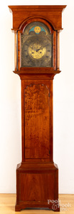 Pennsylvania Chippendale walnut tall case clock