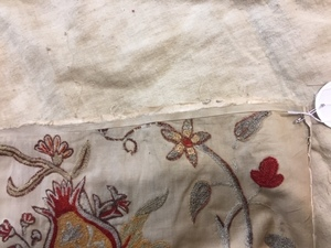 Five crewelwork panels