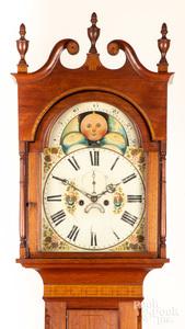 Mid Atlantic Federal walnut tall case clock