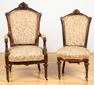 Two Victorian rosewood chairs, etc.