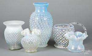 Four opalescent hobnail glass vases, etc.