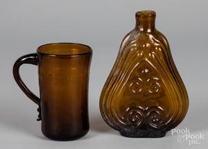 Blown amber glass mug and flask