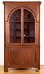 Pennsylvania two-part walnut corner cupboard