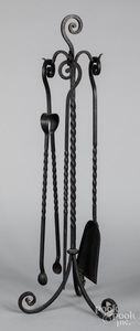 Wrought iron fire tool set