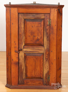 Pine raised panel hanging corner cupboard