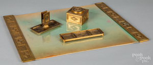 Tiffany Studios bronze graduate pattern desk set