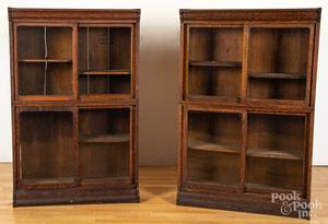 Four oak bookcases