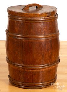 Staved oak barrel