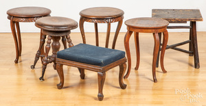 Seven assorted stools and small tables