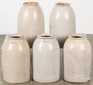 Set of five stoneware crocks