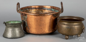 Five brass and copper vessels