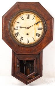 Waterbury steeple clock and oak wall clock