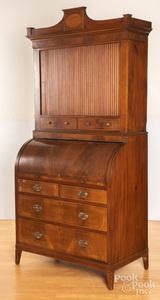 English mahogany roll front secretary desk
