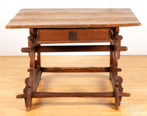 Continental fruitwood and pine tavern table