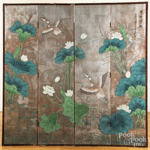 Chinese or Japanese four-part folding screen