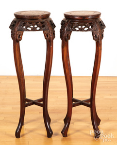 Pair of Chinese marble top plant stands