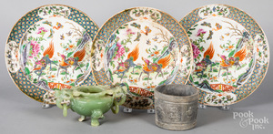 Three Chinese export plates, etc.