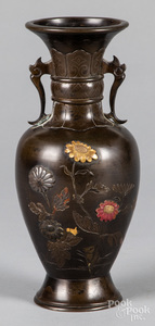 Japanese Meiji period mixed metals bronze vase
