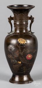 Japanese Meiji period mixed metals bronze vase