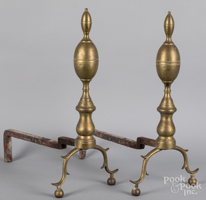 Pair of Federal brass lemon top andirons