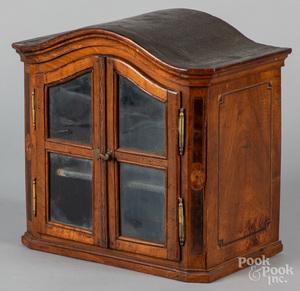 Small Dutch walnut display cabinet